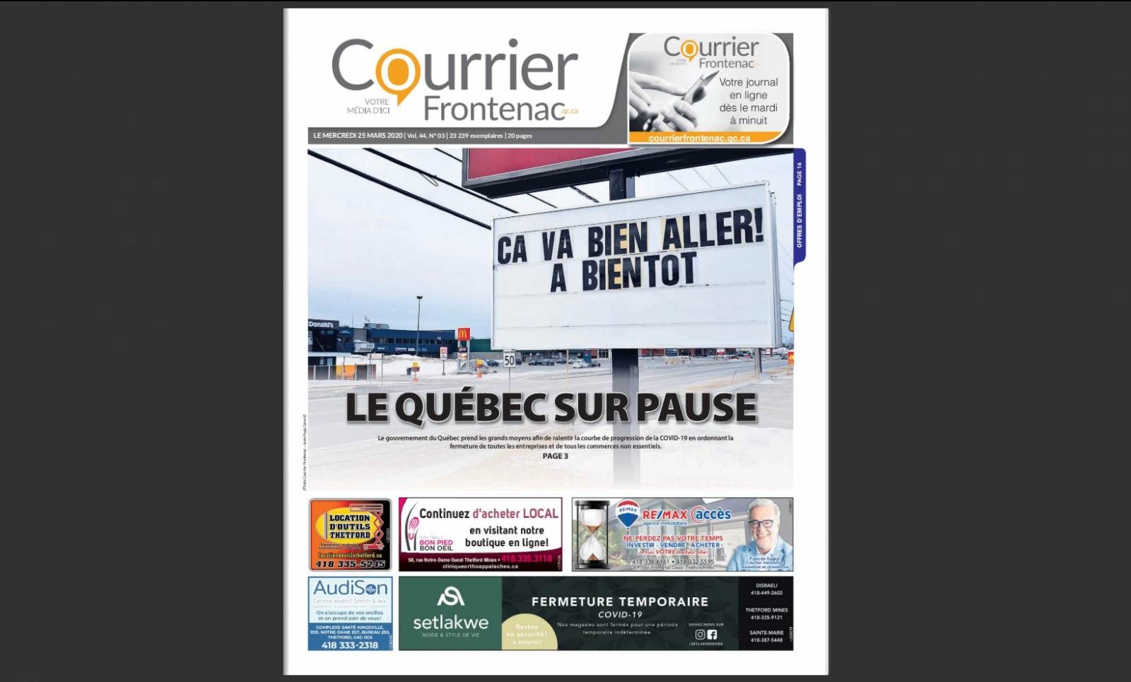 Le Courrier Frontenac maintient sa version papier